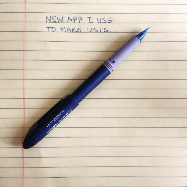 New App I use to make lists (it's pen and paper)